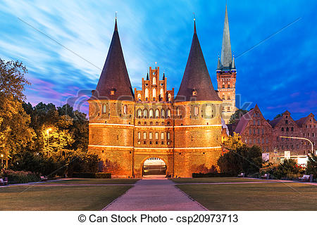 Stock Photography of The Holsten Gate in Lubeck, Germany.