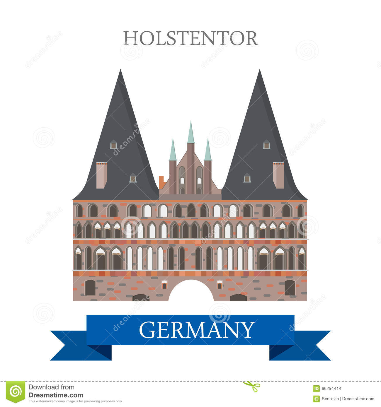 Holstentor Holsten Gate Lubeck Germany Flat Vector Attraction.
