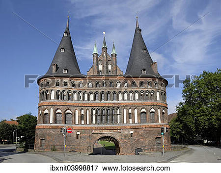 "Picture of ""The Holsten Gate, city side, Lubeck, Schleswig."