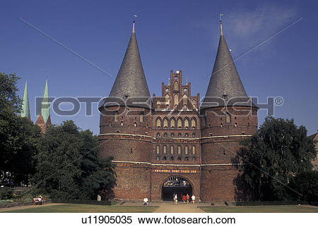 Stock Image of Holsten Gate, Germany, Lubeck, Schleswig.