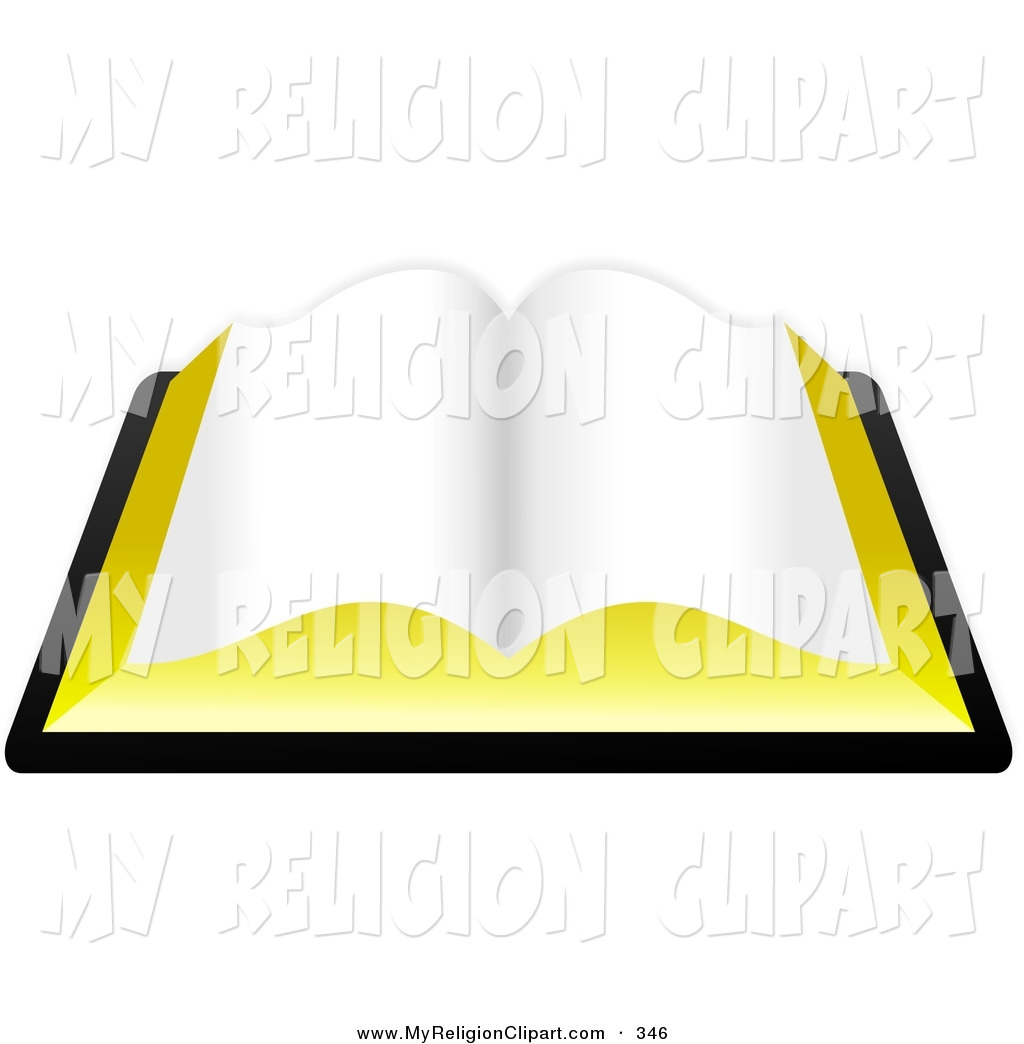Religion Clip Art of a Blank Open Book, Journal, or the Holy Bible.