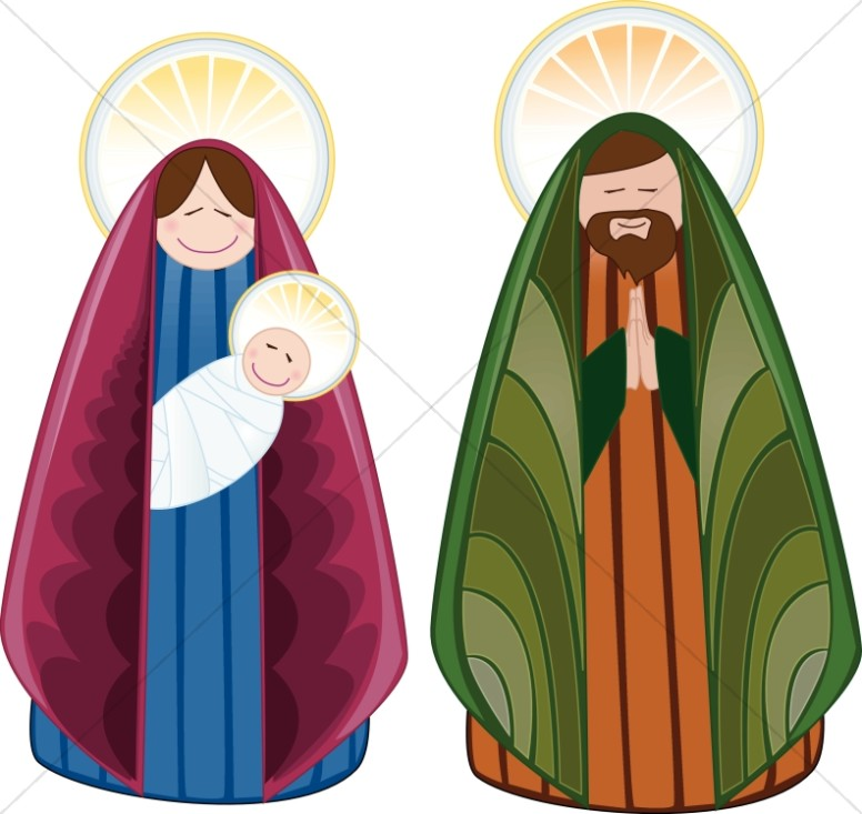 Cheerful Holy Family Characters.