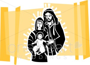 Glowing Holy Family on Gold Backdrop.