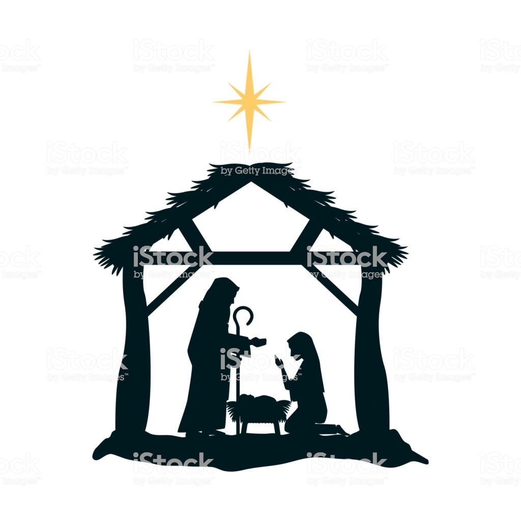 Holy Family Silhouette In Stable Christmas Characters Stock.