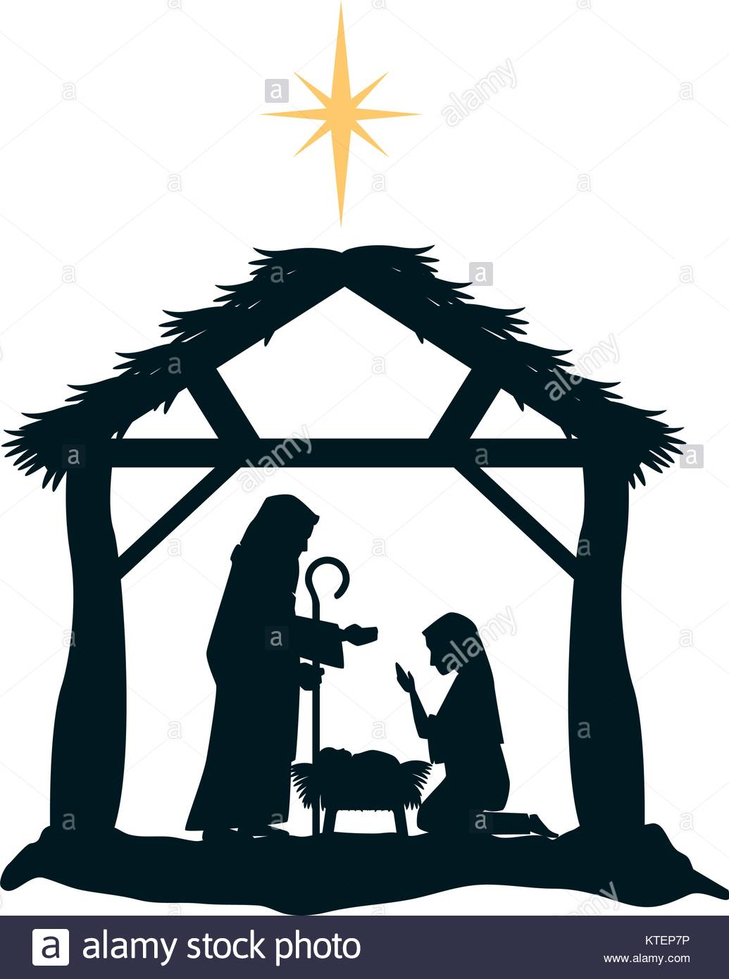 holy family silhouette in stable christmas characters vector Stock.