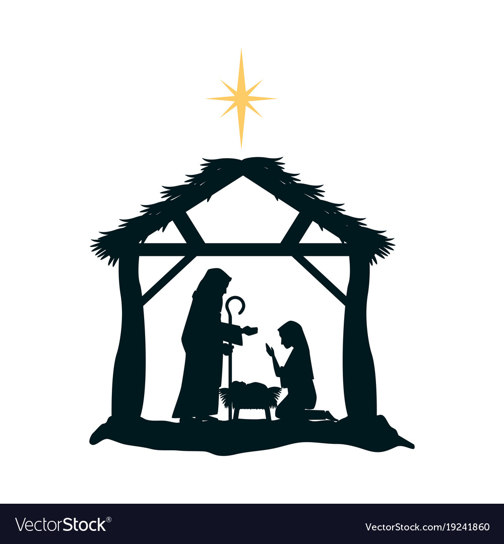 Holy family silhouette in stable christmas.