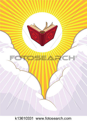 Clipart of Shining Holy Book Beyond The Clouds k13610331.