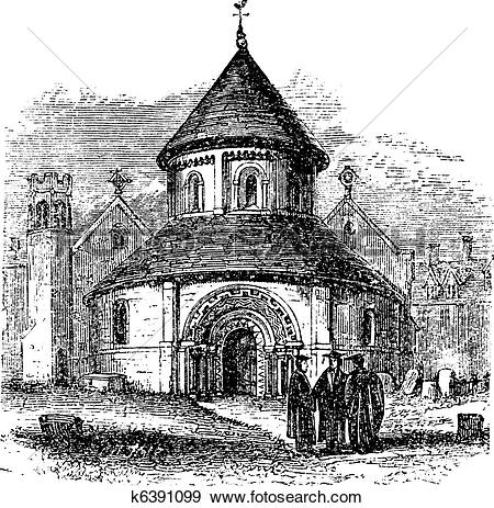 Clip Art of Church of the Holy Sepulchre, Cambridge, United.