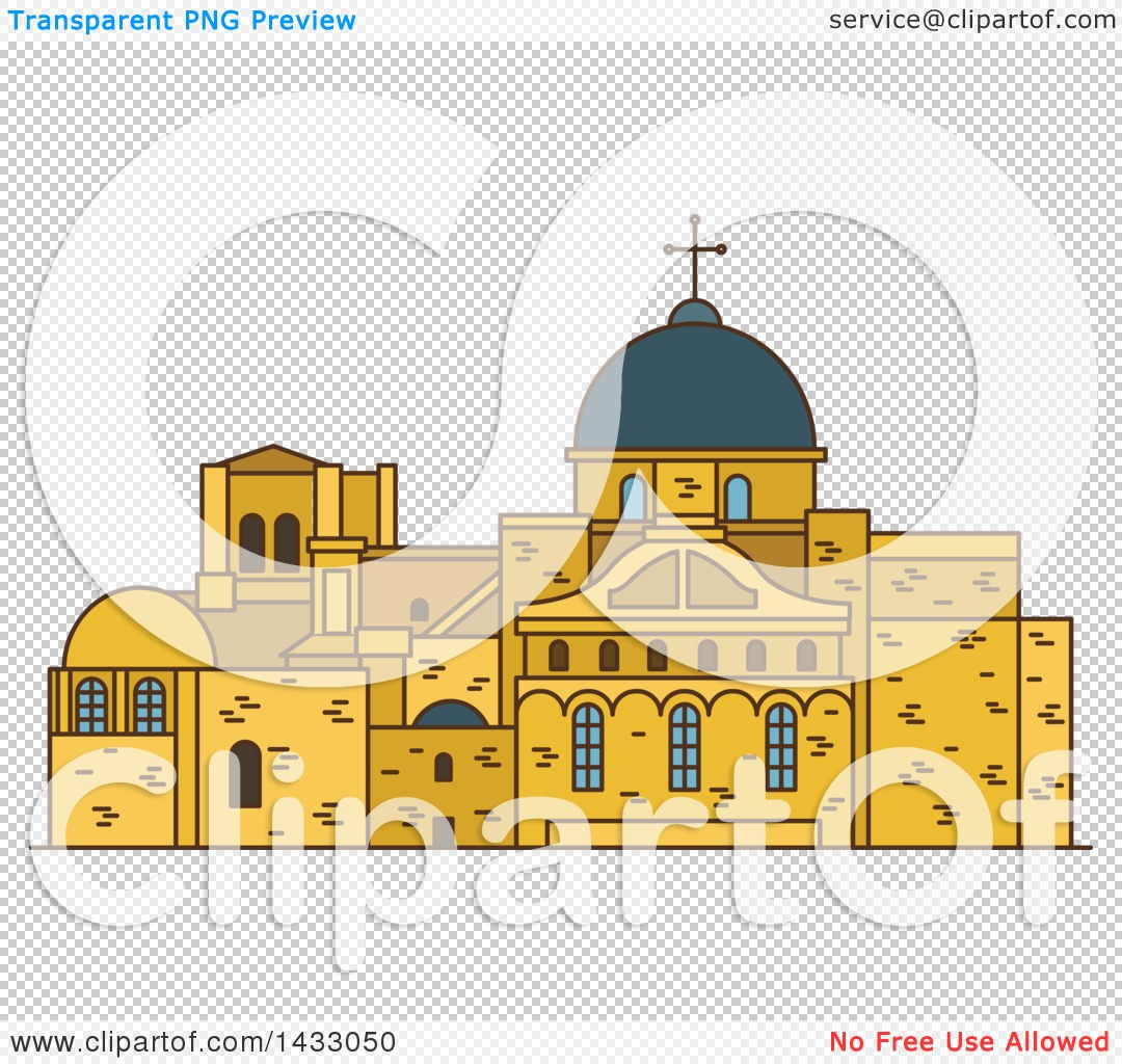 Clipart of a Line Drawing Styled Israel Landmark, Church of the.