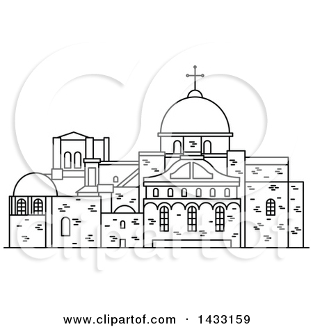Clipart of a Black and White Line Drawing Styled Israel Landmark.