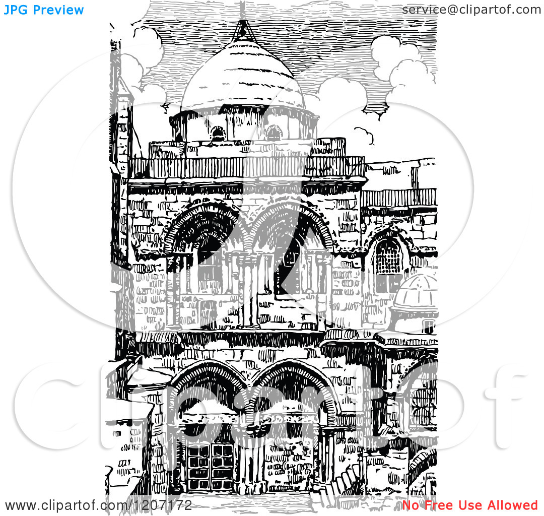 Clipart of a Vintage Black and White Church of the Holy Sepulchre.