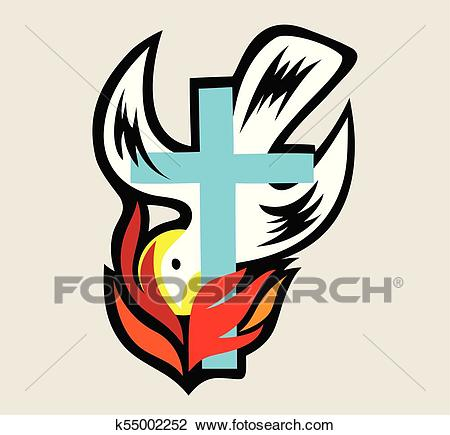 Holy spirit Fire with Cross Clipart.