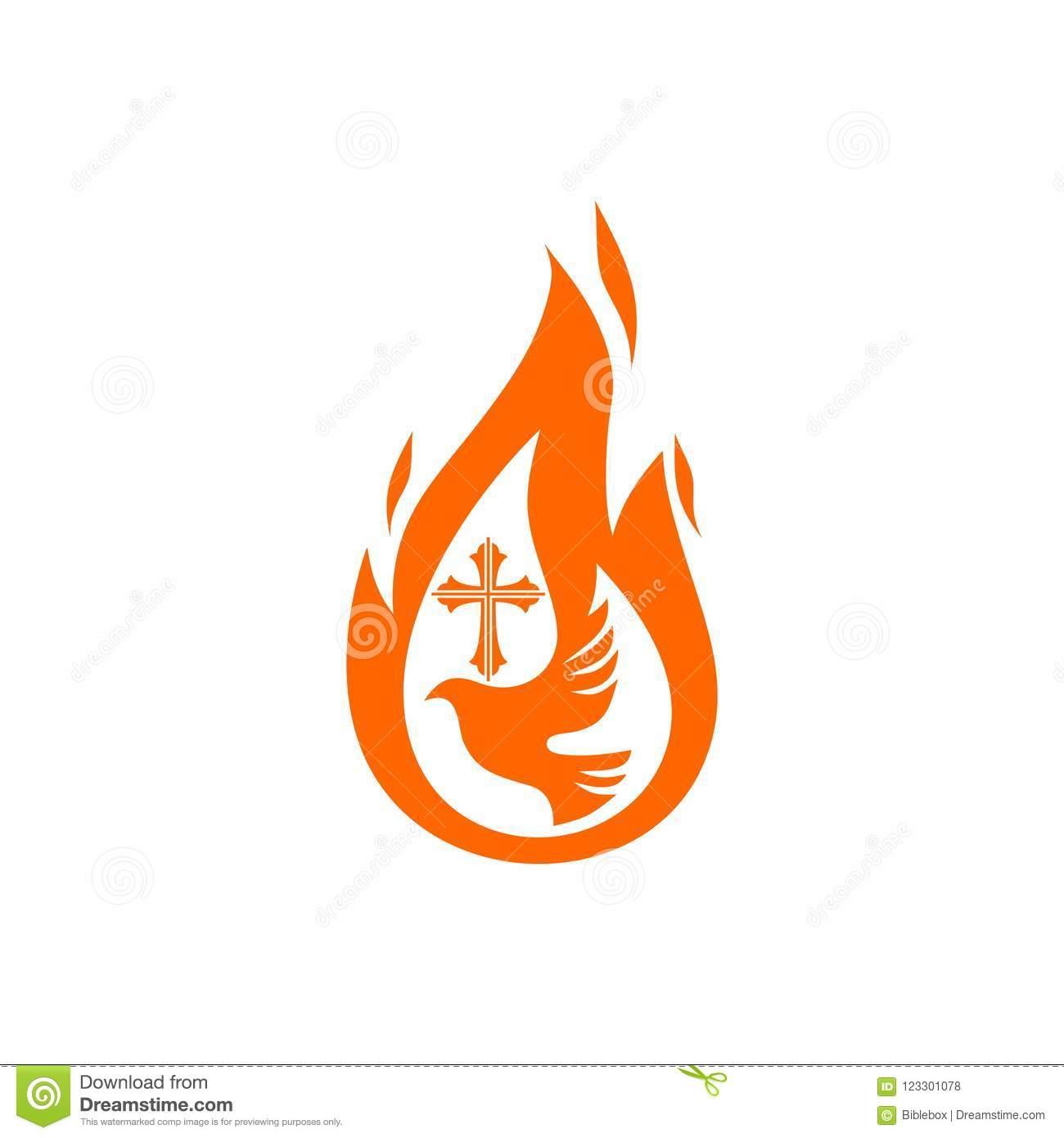 Church Logo. Christian Symbols. Dove, The Flame Of The Holy Spirit.