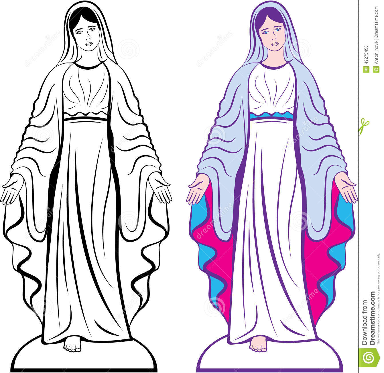 Holy Virgin Godmother Vector Stock Vector.