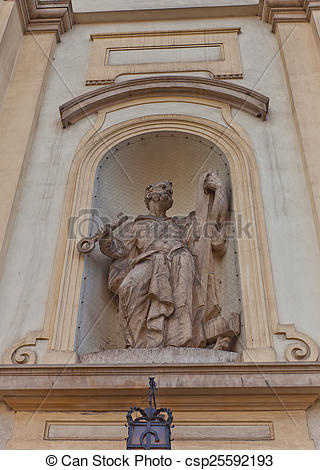Stock Photographs of Statue of St Peter of Holy Cross Church in.