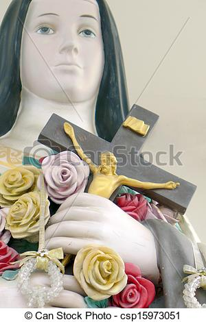 Stock Images of Crucified Jesus Christ in the hand of Holy Women.