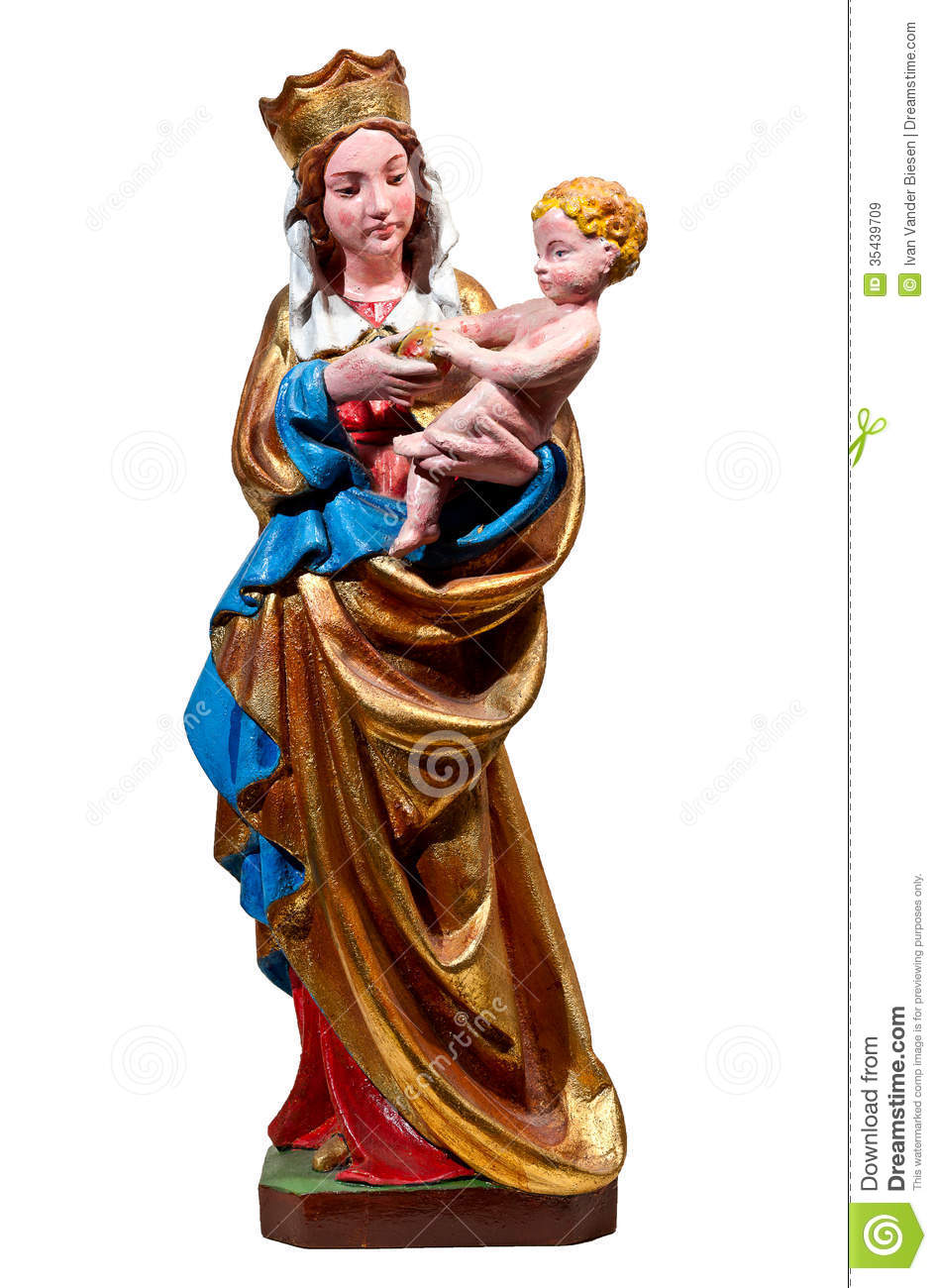 Gothic Statue Of Mary, The Holy Virgin: Madonna Of Royalty Free.
