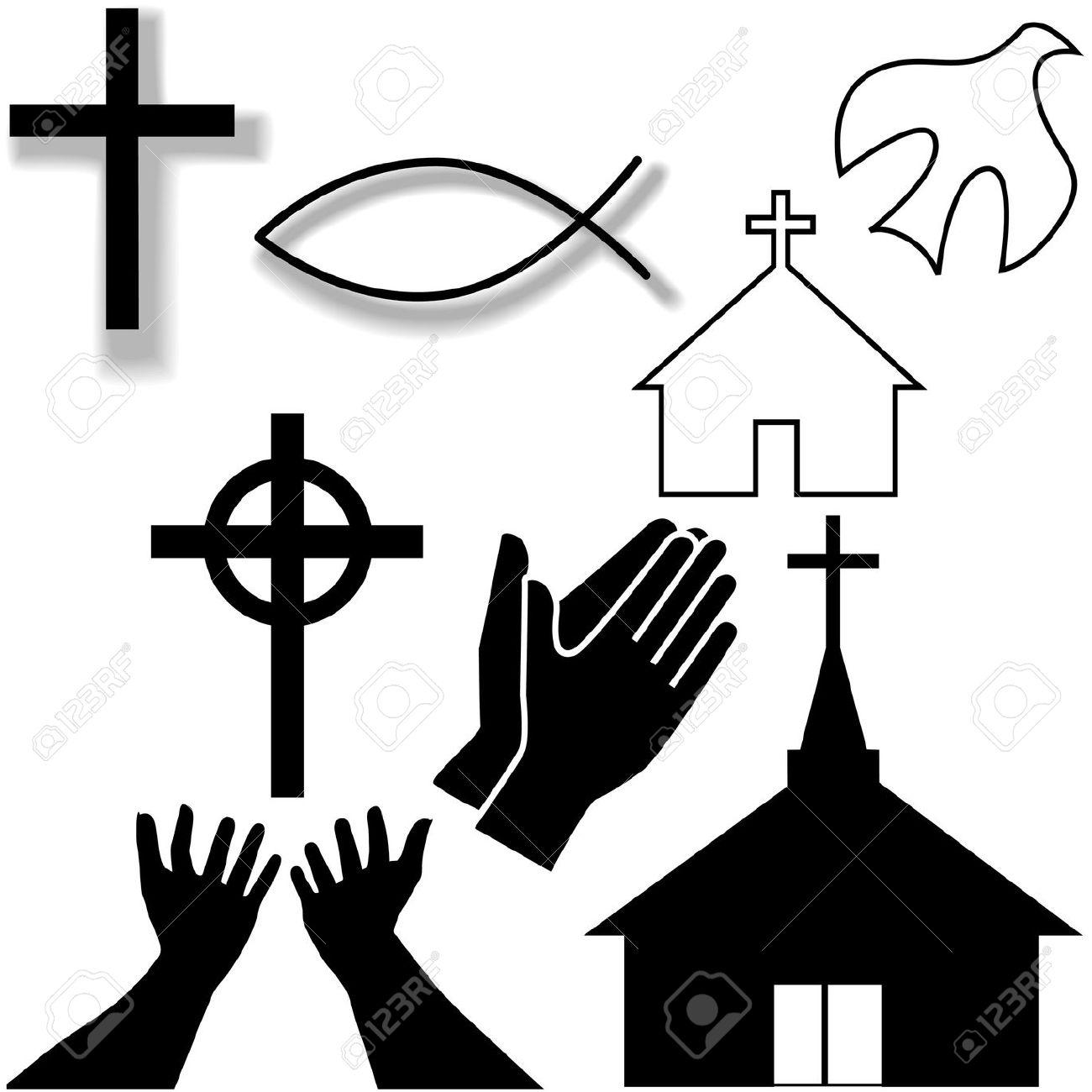 Churches, Crosses, Holy Spirit Dove, Fish Symbol, Hands Praying.