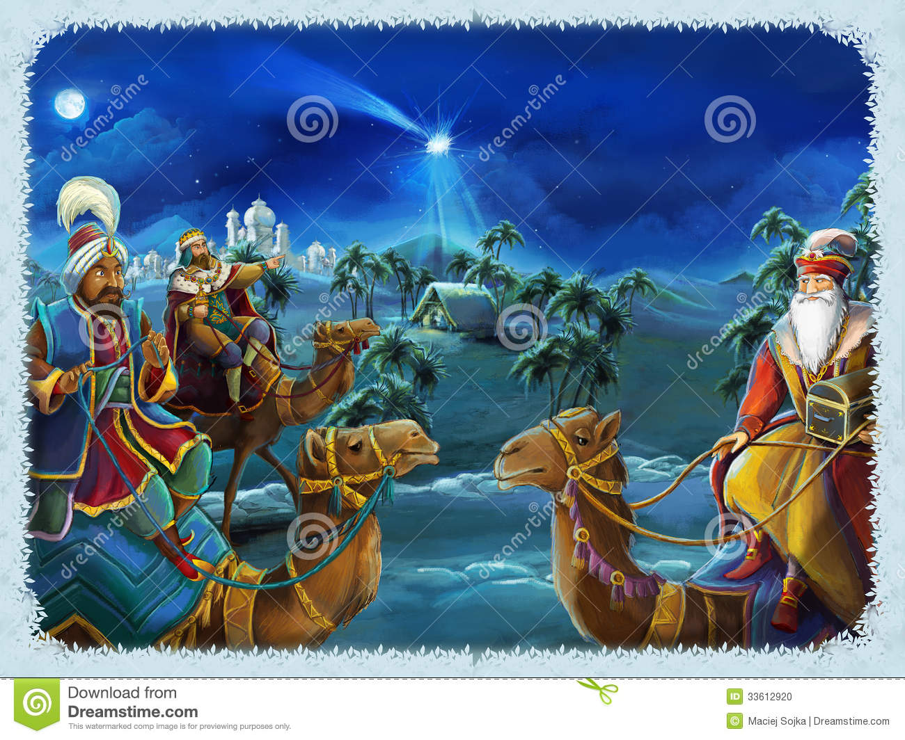 The Illustration Of The Holy Family And Three Kings.