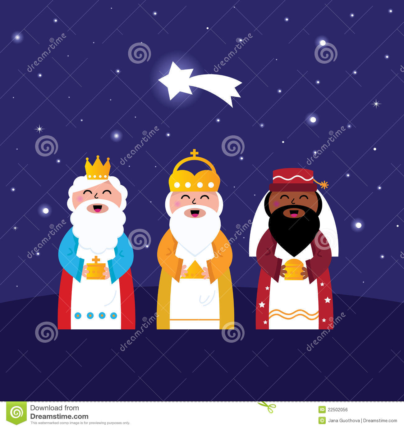 The three kings gifts to jesus clipart.