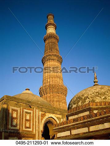 Stock Photography of India, Delhi, Uttar Pradesh, Qutab Minar.