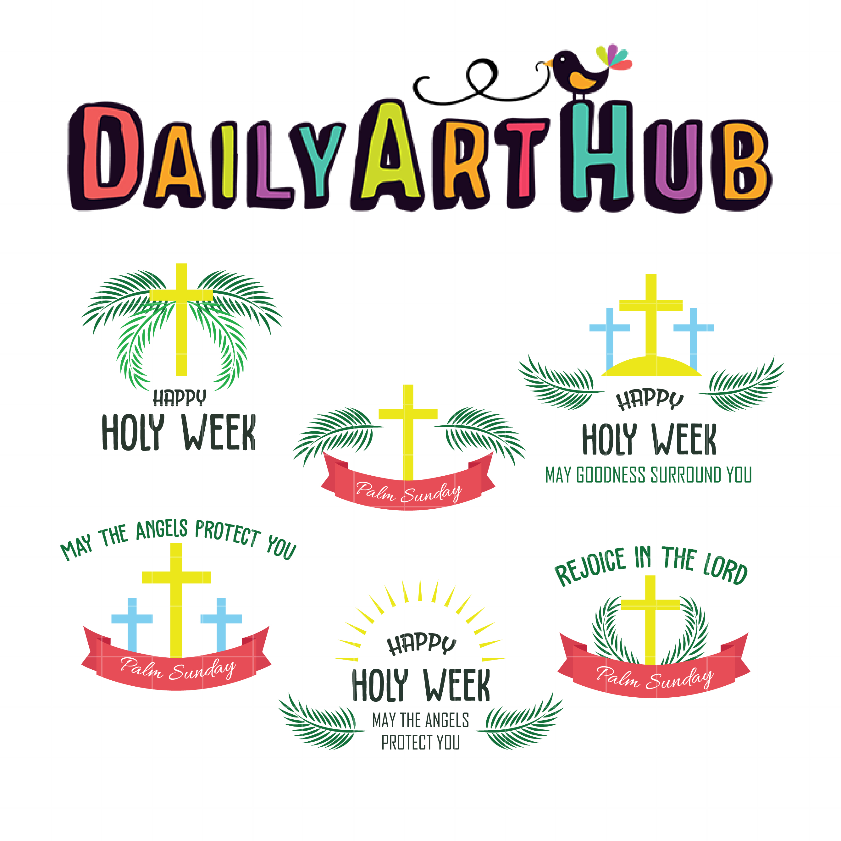 Holy week Banners Clip Art Set.