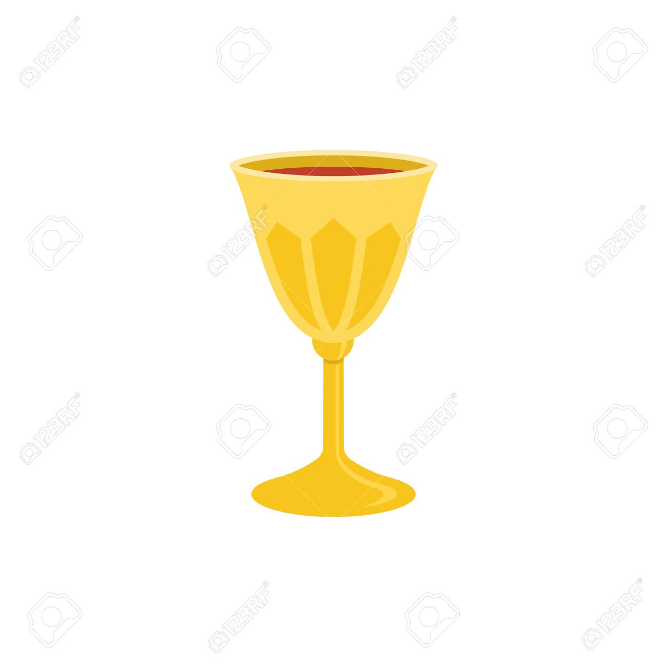 Holy Grail Icon, Chalice With Red Wine Illustration, Flat Design.