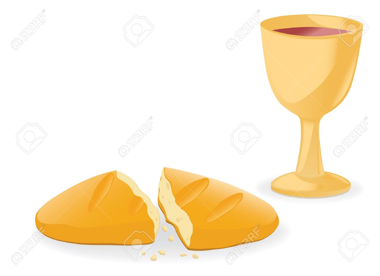 Communion bread and wine clipart.
