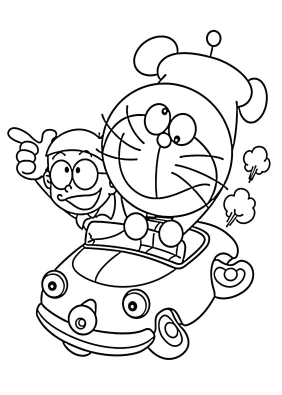 Doraemon in car coloring pages for kids, printable free.