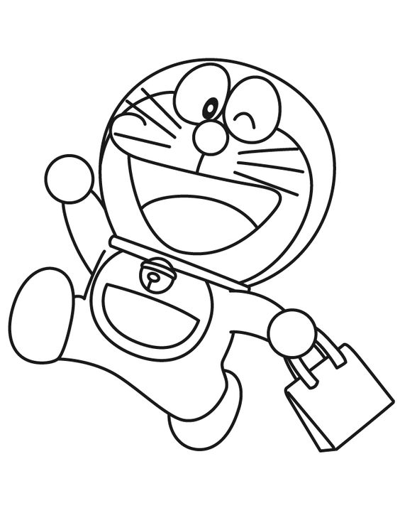 Doraemon Goes Shopping Coloring Page.