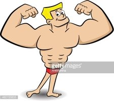 Hombre Musculoso Stock Vector.