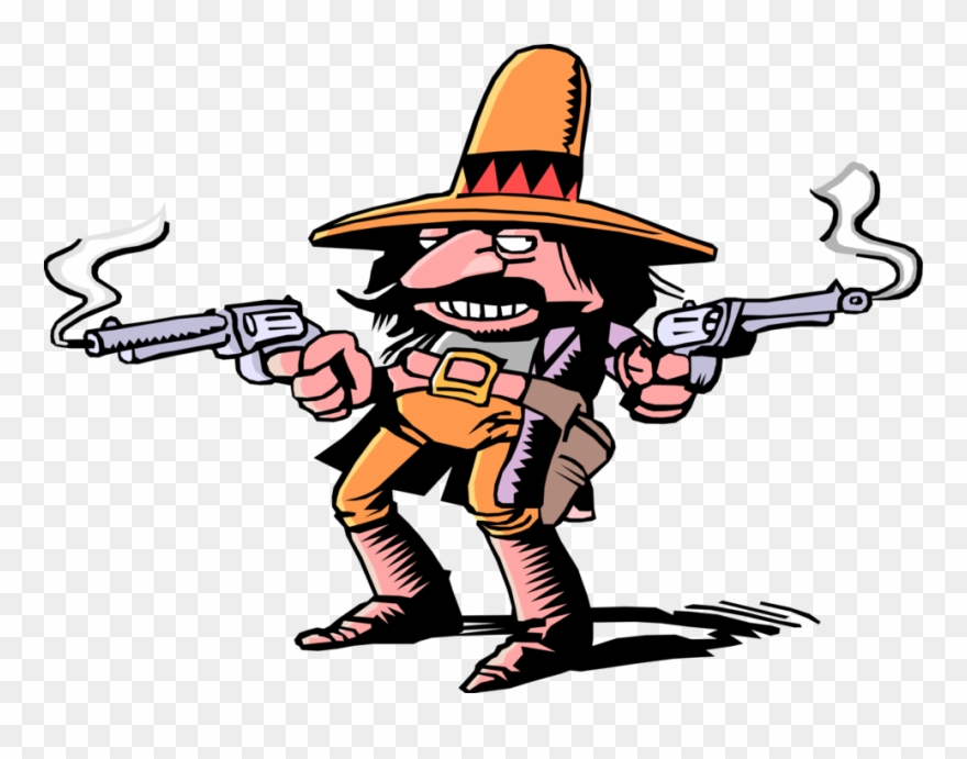 Vector Illustration Of Stereotype Mexican Hombre Bandito.