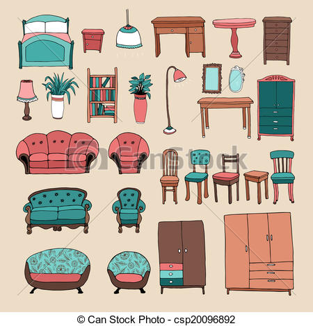Clip Art Vector of Home interior design and decor.