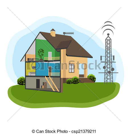 Vector Clip Art of Antenna and House.