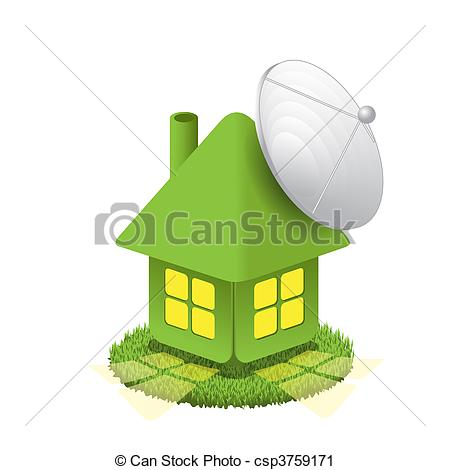 Vector Clip Art of House with antenna.