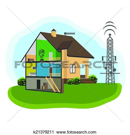 Clipart of Antenna and House k21379211.