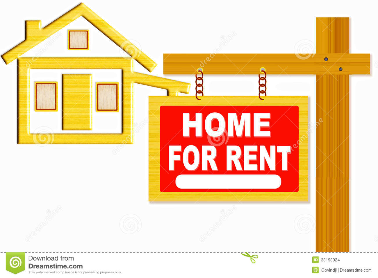 Home For Rent Sign Board With Post And Home Icon Design Stock.