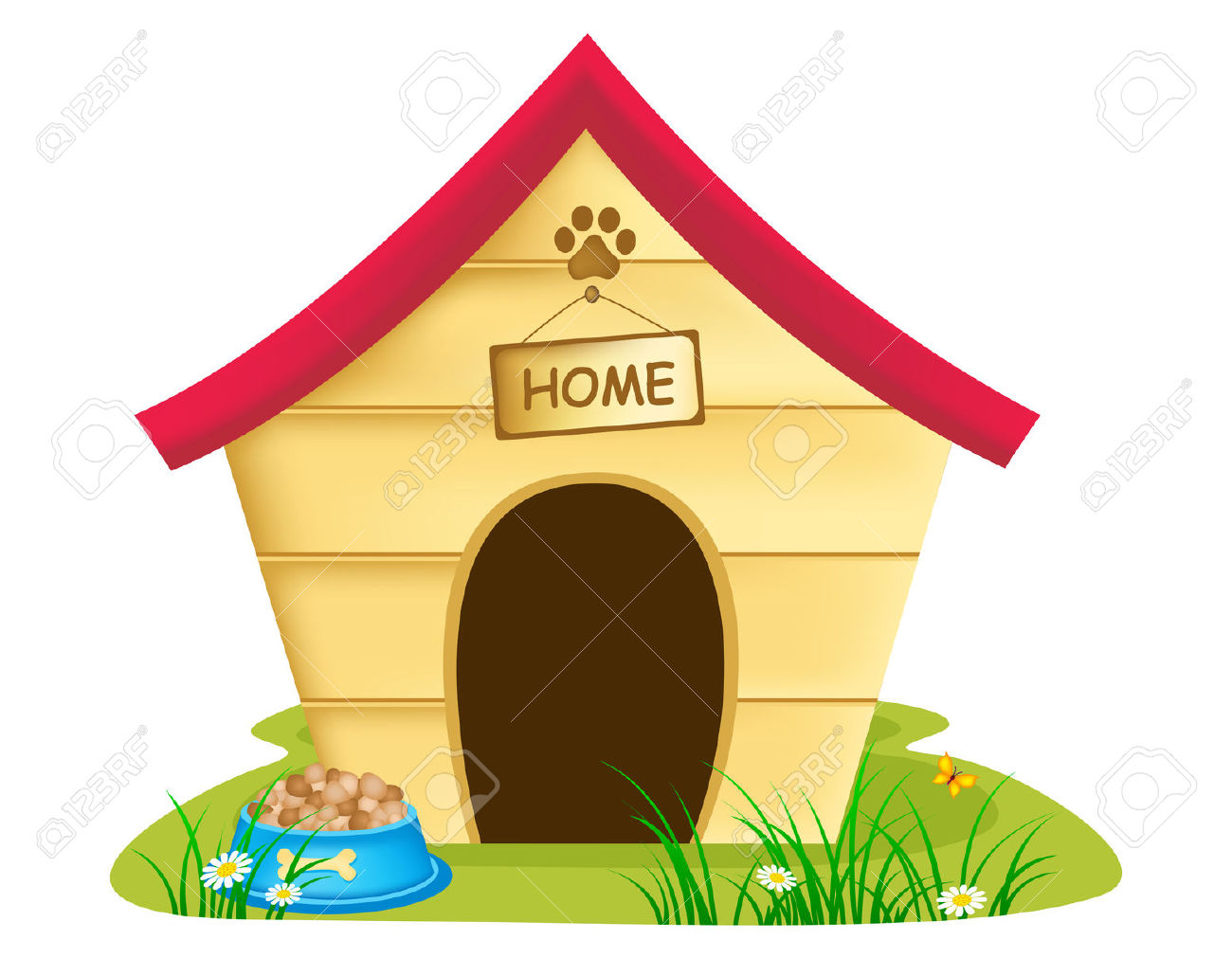 Illustration Of Dog Kennel With Text 'home ' On A Notice Board.