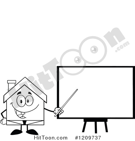 House Clipart #1209737: Black and White Happy Home Businessman.