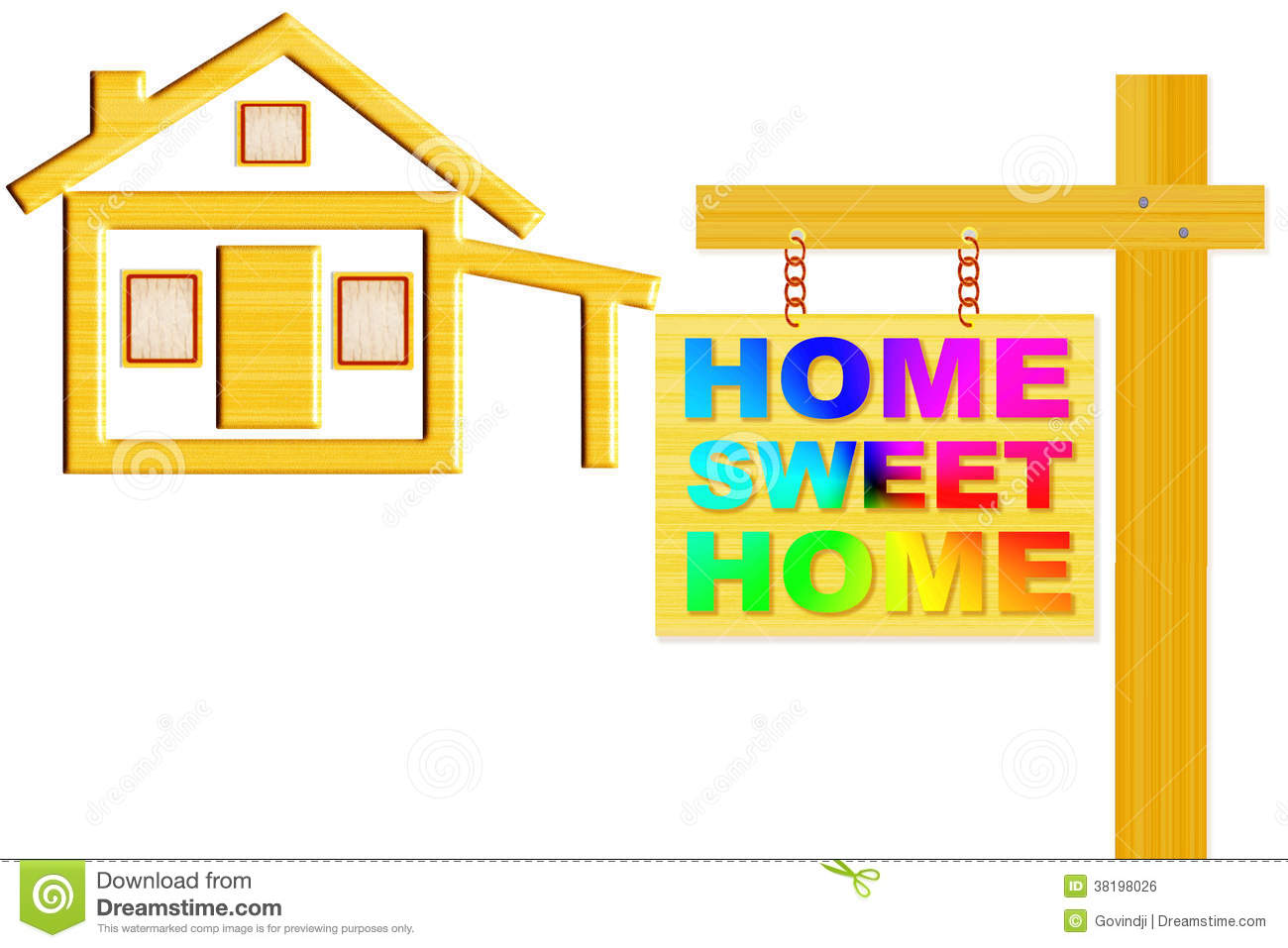 Home Sweet Home Sign Board With Post And Home Icon Design Royalty.