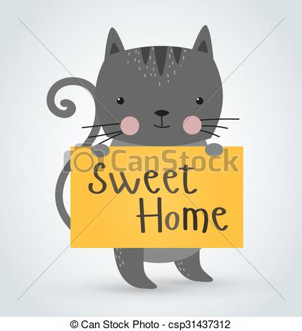 Vector Clip Art of Cat pet animal holding clean welcome sweet home.