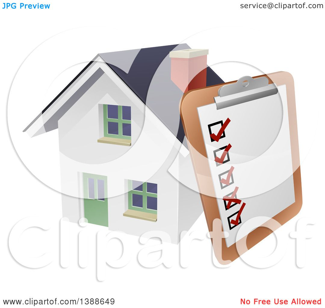 Clipart of a Survey or Check List on a Clip Board Against a 3d.