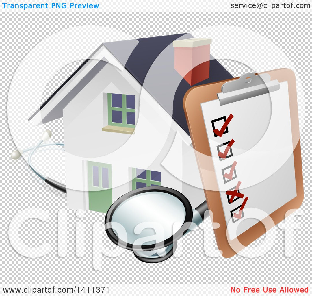 Clipart of a Survey or Check List on a Clip Board and Stethoscope.