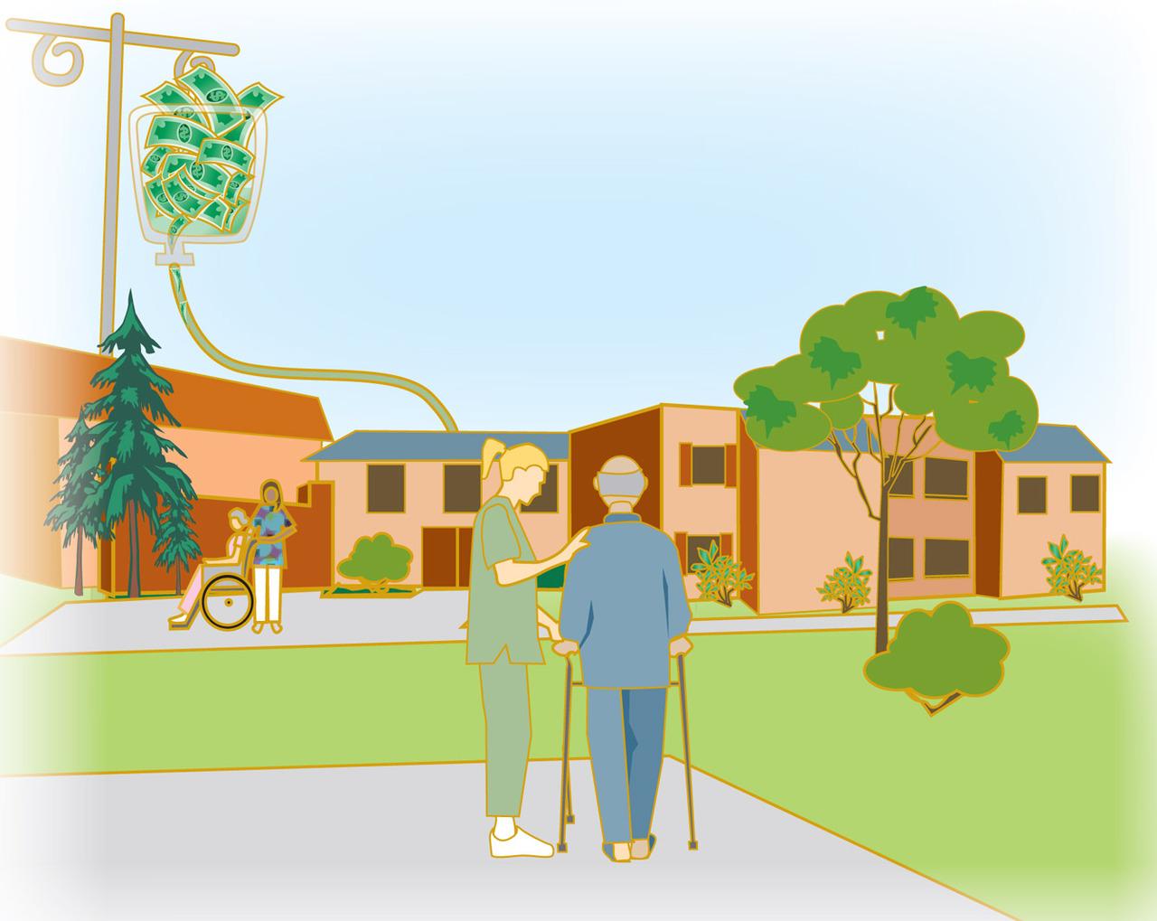 Nursing home building clipart.