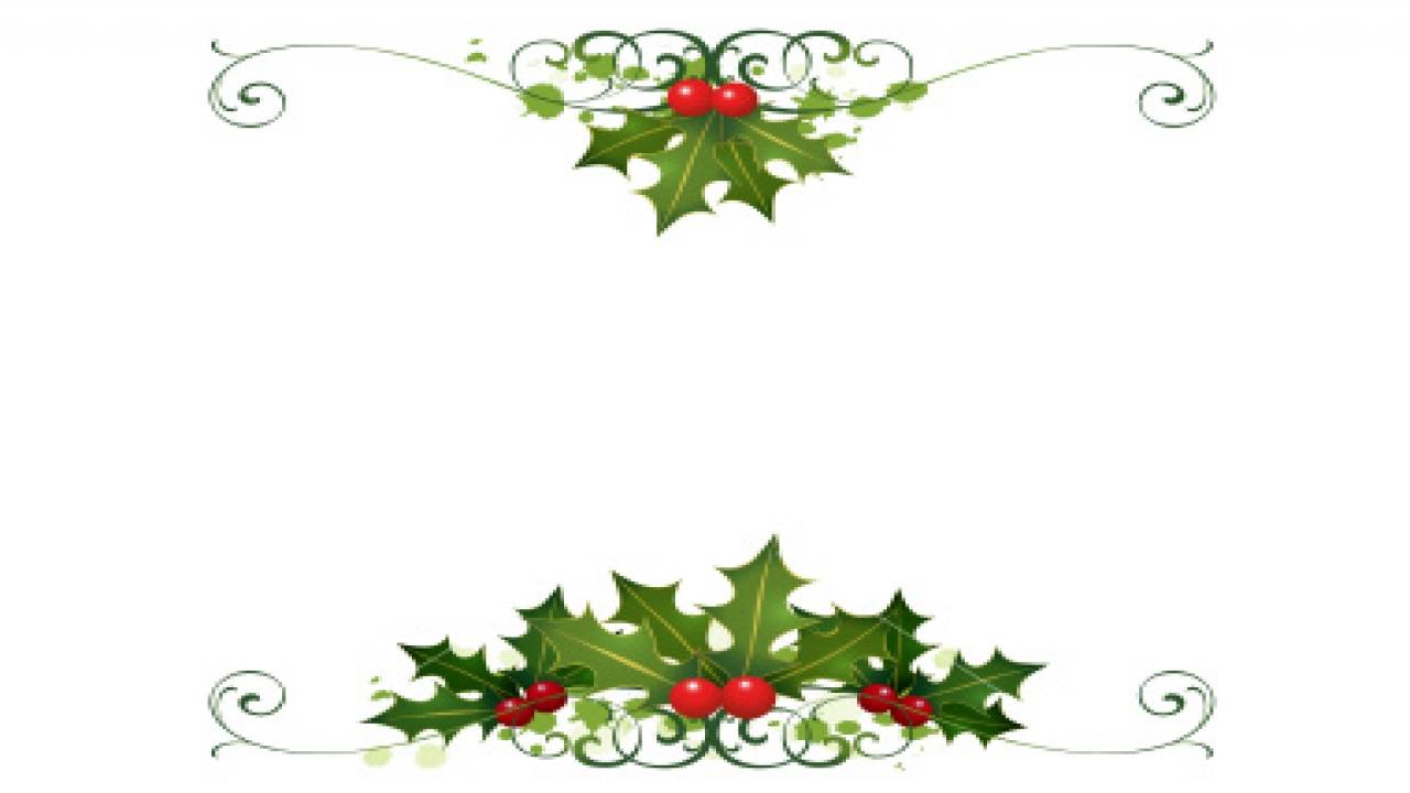 Cool Xmas Ornaments Christmas Holly Border Free Clip Art Printable.
