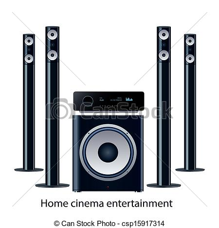 Vector Clip Art of Home cinema speker system.