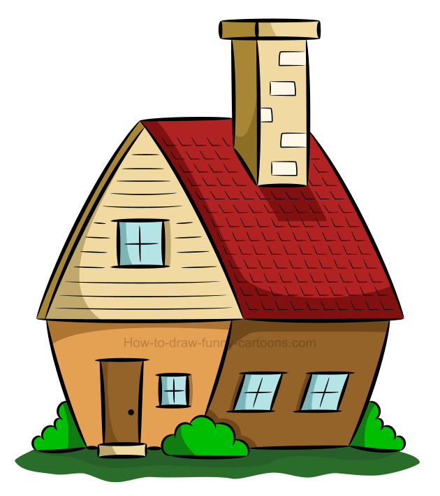 How to draw a house clip art.