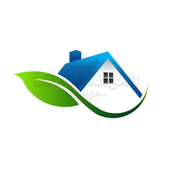 House with leaf logo clip art. Concept for an environment.
