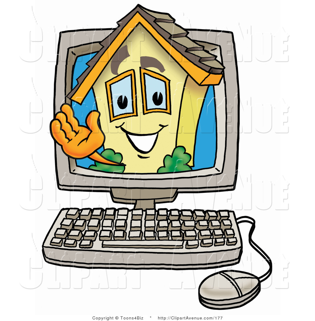 Computer at home clipart.