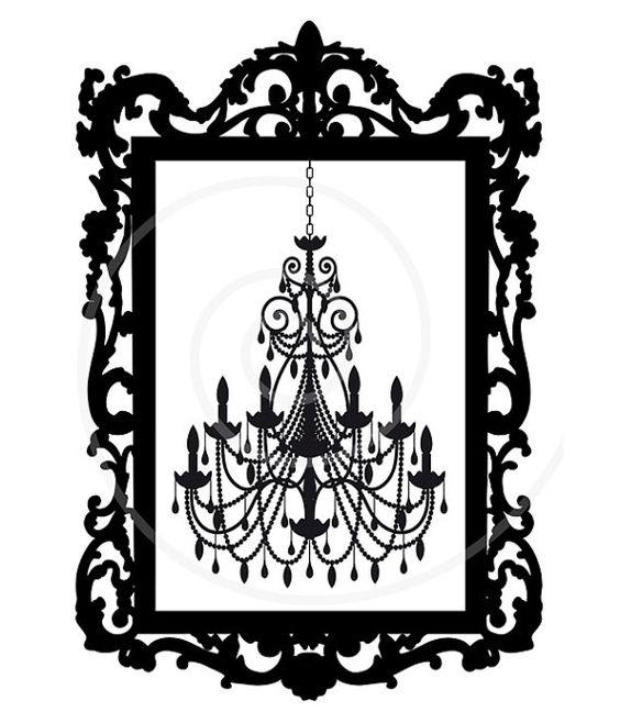 Vintage chandelier in antique picture frame, digital clip art.
